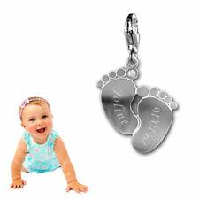 Charm Anhänger Babyfüße mit weißem Stein -925er Sterling Silber- Inkl. Gravur