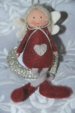 Cute Fabric Fairy Hanging Christmas Tree Decoration, Red Felt dress, Dangly legs