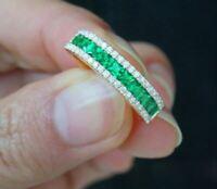 2Ct Princess Cut Green Emerald Half Eternity Wedding Band 18K Yellow Gold Finish