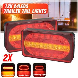 2pcs 12V 24LEDs Rear Tail Light Turn Signal Running Brake Lamp Trailer Truck