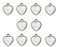 10pcs Gold Resin Hearts Charms White Iridescent Dots Double Sided Embellishments