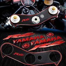 """Handle Bar Yoke Cover Black+Chrome Red 6"""" Logo+Emblem Sticker for 06-16 YZF R6"""