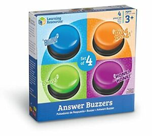 Learning Resources Answer Buzzers Set of 4 Assorted Colored Buzzers Game Show