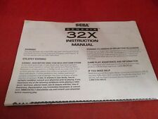 Sega Genesis 32x Console Instruction Manual System Owner's Manual