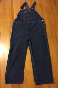 Dickies Denim Blue Jean Bib Overalls Men's 48x32 Workwear