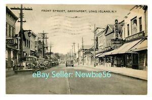 Greenport LI NY - EARLY AUTOS ON FRONT STREET - Postcard