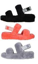 Nueva UGG Oh sí Peluche Suave diapositivas Pantuflas Zapatos Sandalia Negro Rosa para Mujer
