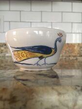 Vtg Homer Laughlin HLC Ramekin Small Bowl Unusual Peacock Bird Cherry Tree Blue