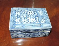 Antique Chinese Porcelain Rectangular Box & Cover Blue and White 19th century