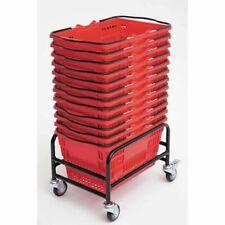 "Versacart Black Steel Rolling Rack For Hand Baskets - 18 1/2""L x 13""W x 13""H"