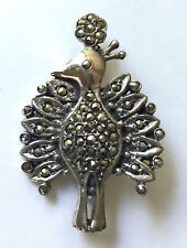 Sweet Peacock (?) Bird Pin in Solid Sterling Silver with Marcasite - 9.2g