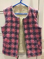Girls 8-9 yrs reversible Gilet with faux sheepskin / tartan material