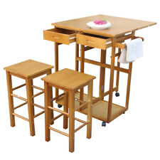 3pcs Dining Table Set with 2 Pub Stools Mobile Kitchen Cart Trolley Island Table