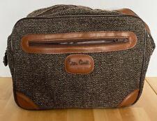 Vintage Pierre Cardin Tweed Leather Carry On Shoulder Travel Flight Bag Luggage
