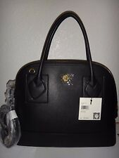 ANNE KLEIN Womens Black Leather Large Satchel Hand Bag Shoulder Bag Tote Shopper