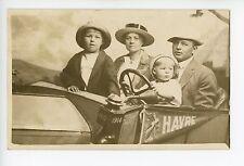 Havre MT Family Car RPPC Antique Studio Photo—Indian-Head Pennant—Cute Kid 1910s