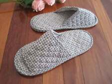 Green Blue Check Double Layer Soles Cotton Quilted Soft Shoes Slippers L24