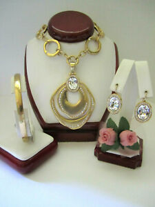 """Brighton """"VERSAILLES MARS"""" Gold Necklace-Earring-Bracelet (MSR$216) NWT/Pouch"""
