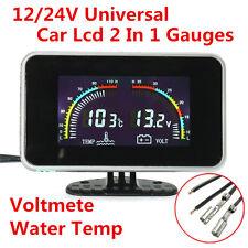 DC9-36V LCD Digital Display Car SUV Voltmeter Gauge/Water Temp Temperature Meter
