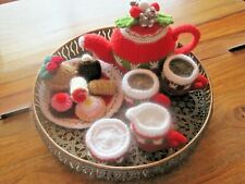 A HAND KNITTED XMAS AFTERNOON TEA SET. REALISTIC TOY, FANCY A CUPPA?