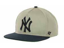 New York Yankees 47 BRAND 2T Natural MLB Baseball Strapback Cap Hat Tan/Navy