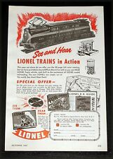 1947 OLD MAGAZINE PRINT AD, LIONEL TRAINS IN ACTION, PRR 4911 ELECTRIC ENGINE!