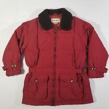 Eddie Bauer 100% Goose Down Wool Trim Red Winter Coat Jacket Women's Medium