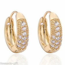 1Pair Gift 18k Gold Plated Small Hoops Earrings with White Zircon 19.1mmx17.5m
