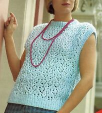 LADIES SLIPOVER SLEEVELESS TOP SUMMER KNITTING PATTERN CHUNKY BY EMAIL (1197)