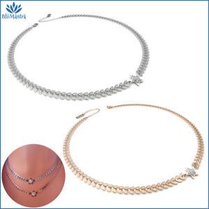 Collana girocollo da donna con stella in acciaio inox zirconi bianchi catenina a