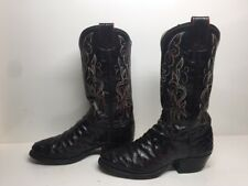 Vtg Mens Olathe Cowboy Ostrich Skin Leather Burgundy Boots Size 7.5 D