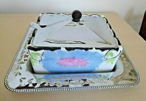1930's Art Deco Ceramic Sardine Dish and Fork on a Chrome stand and lidded cover