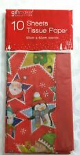 10 Pack Christmas Red/Character Tissue Paper - Gift Bag Fill - Present Wrapping