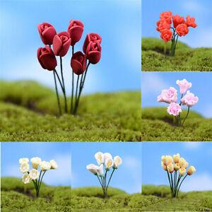 10PCS Mini Artificial Flower Fairy Garden Micro Lawn Landscape Bonsai DIY Decor