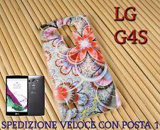 Cover custodia in gomma di silicone per Smartphone LG G4S fantasia FIORE ROSSO