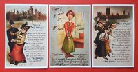 Set of 3 c1908 Reproduction Anti Suffrage Suffragette Postcards X79