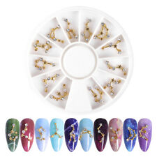 12Pcs Nail Art 3D Charms Gold Constellation Crystal Rhinestones Gems Nails Decor