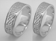 Irish Handcrafted Sterling Silver Irish Celtic Design Wedding Band Ring Set