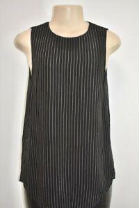 THEORY Black White Striped Silk Chiffon Women's Top Size Small On Sale