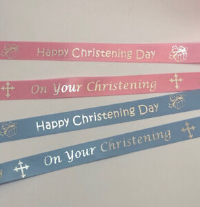 15mm Pink or Blue Satin Ribbon + Silver Christening print 1 Metre length