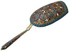 Russe argent doré et polychrome cloisonné émail caddy spoon-antique