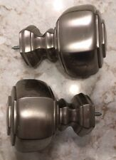 SILVER metal BRUSHED NICKEL HEXAGON FINIALS for curtain ROD draperies pair F226