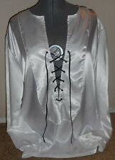 New mens white satin renaissance 1800's SCA pirate shirt costume costumes