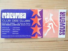 INVITATION ANCIENNE DISCOTHEQUE CLUB MACUMBA 1976 Vigneux de Bretagne
