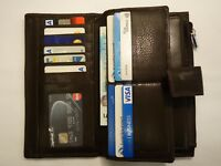 Leather Purse Wallet Organiser Extra Large Many Features Top Brand BROWN RFID