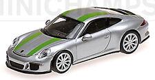 PORSCHE 911R Coupé 2016 Plata + Verde Raya 1: 87 MINICHAMPS