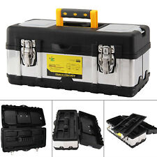 Heavy Duty 17 Inch Stainless Steel Tool Box Chest Storage Case & Removable Tray