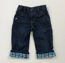 BABY GAP Boys Pull On 1969 Flannel Lined Jeans Size 6-12 Months EUC