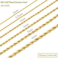 18K Gold Plated Stainless Steel Rope Chain Bracelet Necklace Men Women 2-8mm