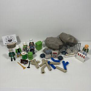 Playmobil Fallen Construction Site Bundle Workers Accessories Rocks Figures